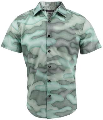 Lords Of Harlech Scott Shirt In Fading Camo Pistachio