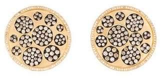 14K Diamond Round Disc Earrings