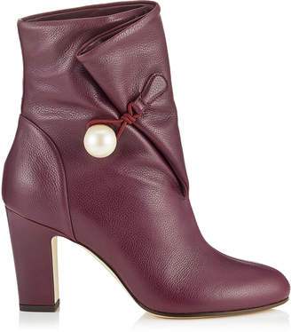 Jimmy Choo BETHANIE 85 Grape Grainy Leather Booties with Pearl Detailing