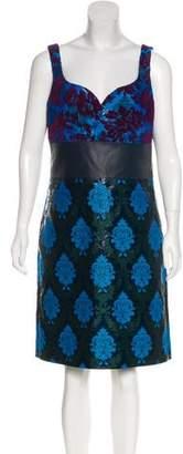 Mary Katrantzou Leather-Accent Sleeveless Dress