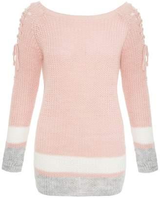 Quiz Pink Grey And Cream Knit Jumper