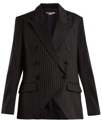 Stella McCartney Peak Lapel Pinstriped Wool Blend Jacket - Womens - Navy Stripe