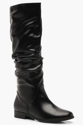 boohoo Ruched Knee High Boots