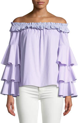 Romeo & Juliet Couture Off-The-Shoulder Striped Ruffle-Tiered Blouse
