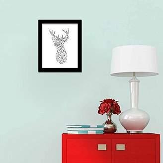 Camilla And Marc WALPLUS Deer Head Art Canvas Printing Wall Sticker, Vinyl, Multi-Colour, 40 x 30 x 5 cm