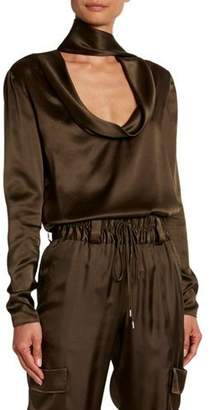 Tom Ford Long-Sleeve Low Drape Front Silk Top w/ Attached Scarf