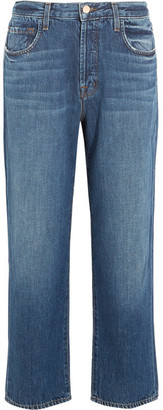 J Brand - Ivy Cropped High-rise Straight-leg Jeans - Mid denim $200 thestylecure.com