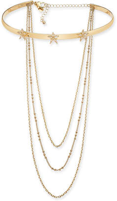 "INC International Concepts I.n.c. Gold-Tone Multi-Chain Star Flower Choker Necklace, 12"" + 3"" extender, Created for Macy's"