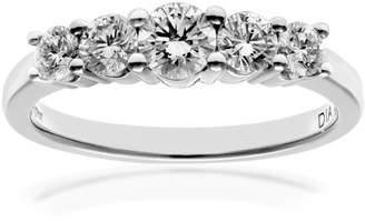 N. Naava Women's 18 ct White Gold 5 stone Eternity Ring, H/SI Certified Diamonds, Round Brilliant, 0.75ct, White Gold,
