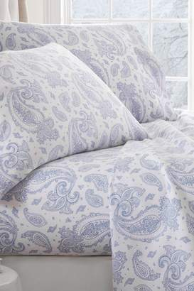 Hotel Collection iEnjoyHome Premium Paisley Pattern Flannel Bed Sheet Set - Light Blue