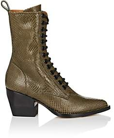 Chloé Women's Rylee Snakeskin Lace-Up Ankle Boots - Green