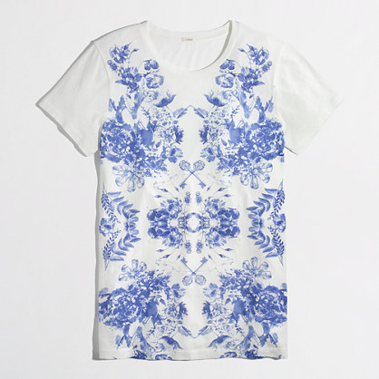 J.Crew Factory Factory mirrored floral graphic tee