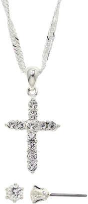 JCPenney SPARKLE ALLURE Sparkle Allure Cubic Zirconia Cross Pendant Necklace & Stud Earring Set