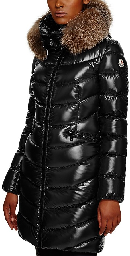 Moncler Moncler Aphia Fox Fur Hood Long Down Coat