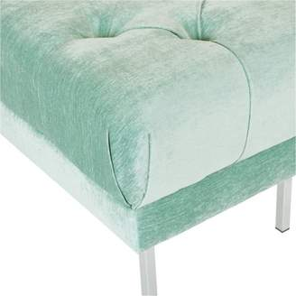 Inspired by Bassett Addie Tufted Bench in Sea Fabric with Chrome Legs