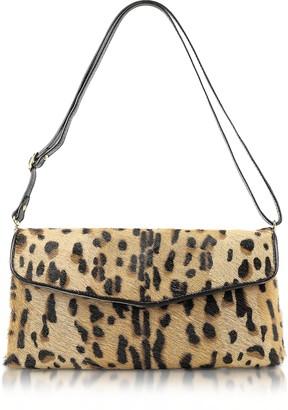 Fontanelli Calfhair Leopard Print Shoulder Bag