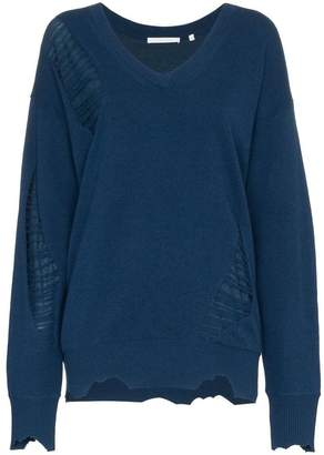 Helmut Lang distressed V-neck wool jumper