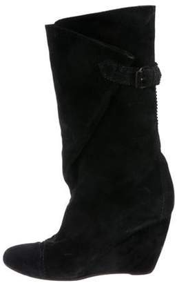 Balenciaga Mid-Calf Wedge Boots Black Mid-Calf Wedge Boots