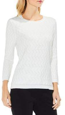 Vince Camuto Textured Three-Quarter Sleeve Stitched Cotton Sweater