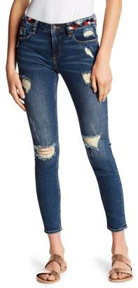 Miss Me Embroidered Waist Distressed Skinny Jeans