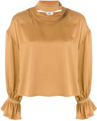 Fendi metallic ruched blouse