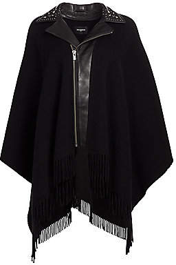 The Kooples Women's Moto Collar Fringed Poncho