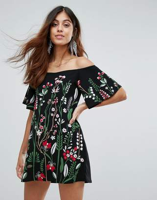 Daisy Street Off The Shoulder Embroidered Dress