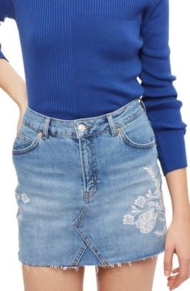 Topshop Women's Embroidered Denim Miniskirt