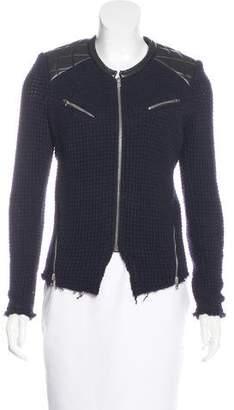 IRO Leather-Paneled Open Knit Jacket