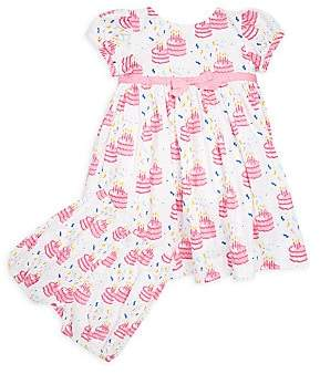 Rachel Riley Baby's& Toddler's Two-Piece Birthday Cake-Print Cotton Dress and Bloomers Set
