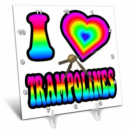 3dRose Groovy Hippie Rainbow I Heart Love Trampolines, Desk Clock, 6 by 6-inch