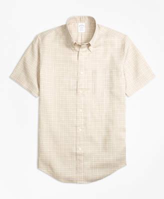 Brooks Brothers Regent Fit Check Irish Linen Short-Sleeve Sport Shirt