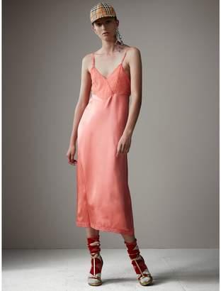 Burberry Chantilly Lace Trim Silk Slip Dress