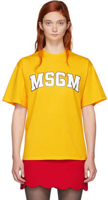 MSGM Yellow College Logo T-Shirt