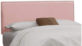 One Kings Lane Linen Pink Hannah Button Headboard - King