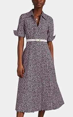 Barneys New York Women's Doodle-Heart-Print Cotton Poplin Midi-Dress - Navy