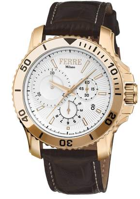 Ferré Milano Men's FM1G070L0021 Silver Dial With Dark Brown Leather Calfskin Band Watch.