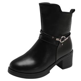 LIKESIDE_shoes LIKESIDE Women Wedges Buckle Strap Leather Middle Boots Martin Shoes Ankle Boot