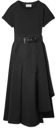 3.1 Phillip Lim - Belted Cotton-blend Jersey And Cotton-canvas Midi Dress - Black