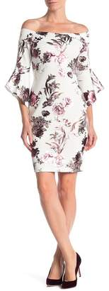 Bebe Metallic Floral Off-the-Shoulder Dress