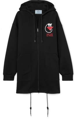 Prada Oversized Printed Cotton-blend Jersey Hoodie - Black