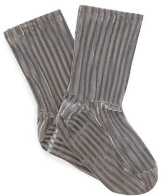 Darner Socks - Ribbed Velvet Ankle Socks - Womens - Grey
