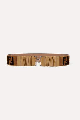 Fendi Leather-trimmed Printed Velvet Belt