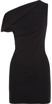 One-shoulder Stretch-jersey Mini Dress - Charcoal