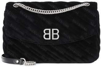 Balenciaga Chain Round M velvet shoulder bag