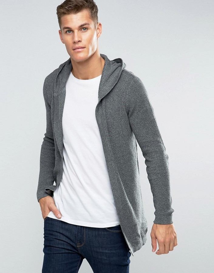 Esprit Esprit Ribbed Draped Hooded Cardigan