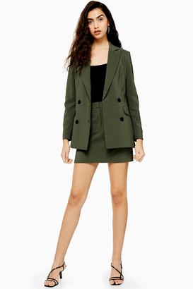 Topshop Womens Khaki Mini Skirt - Khaki