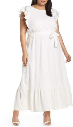 f62b1fa3 Chelsea28 Ruffle Sleeve Cotton Maxi Dress