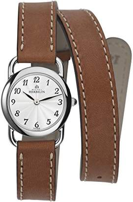 Michel Herbelin Equinox Women's Quartz Watch with White Dial Analogue Display and Brown Leather Strap 17467/28GOL
