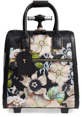 Ted Baker London Inez Gem Gardens Two-Wheel Travel Bag - Black $295 thestylecure.com